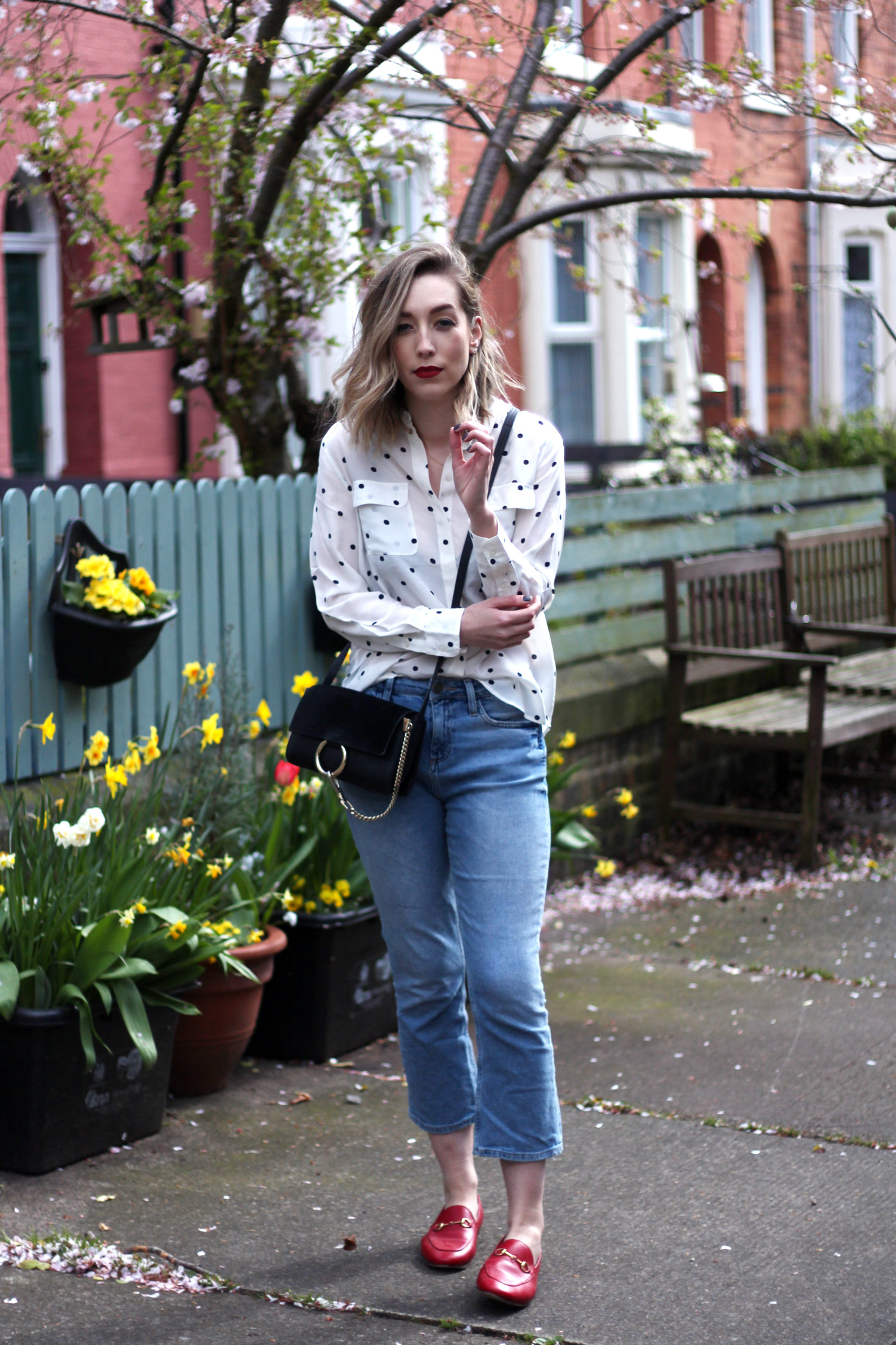 boden-polkadot-shirt-BDG-jeans-gucci-red-jordaan-loafers