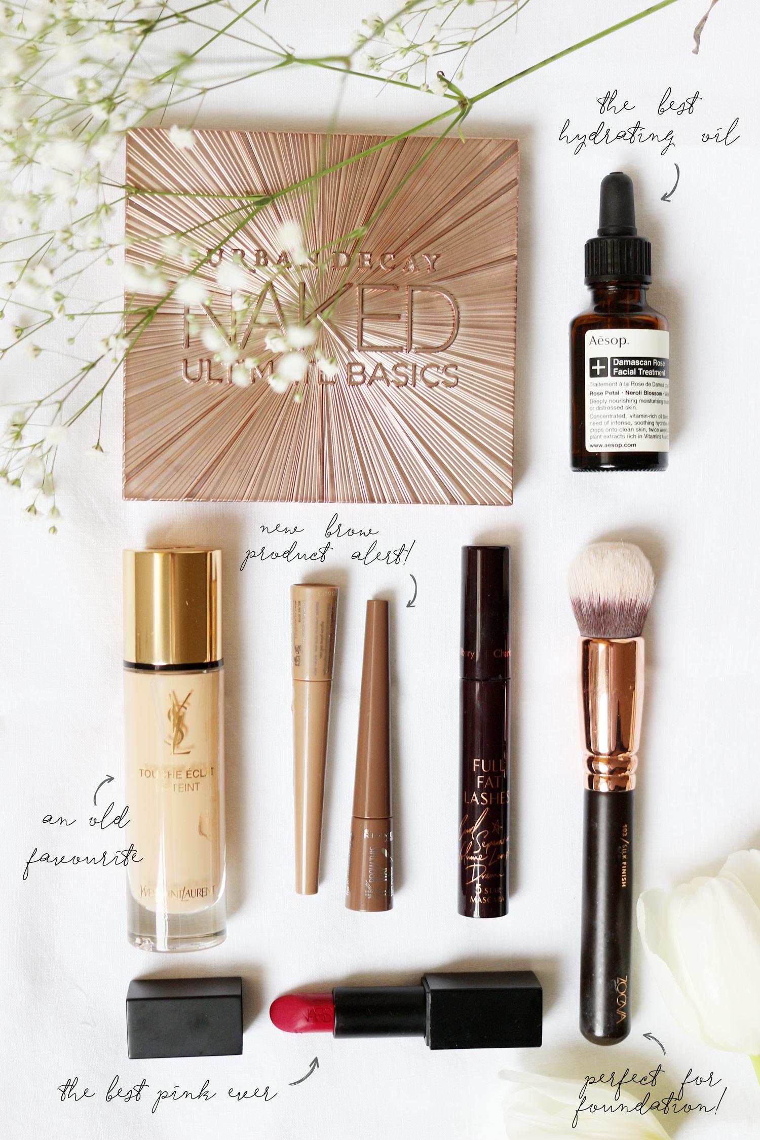 makeup-favourites-ysl-touche-eclat-foundation-NARS-vera-UD-naked-basics