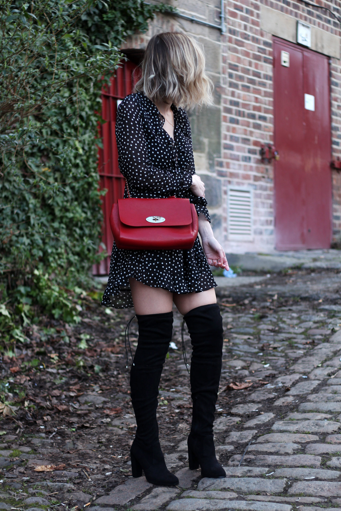 polkadot-ruffle-dress-h&m-mulberry-lily-bag-thigh-high-boots-1