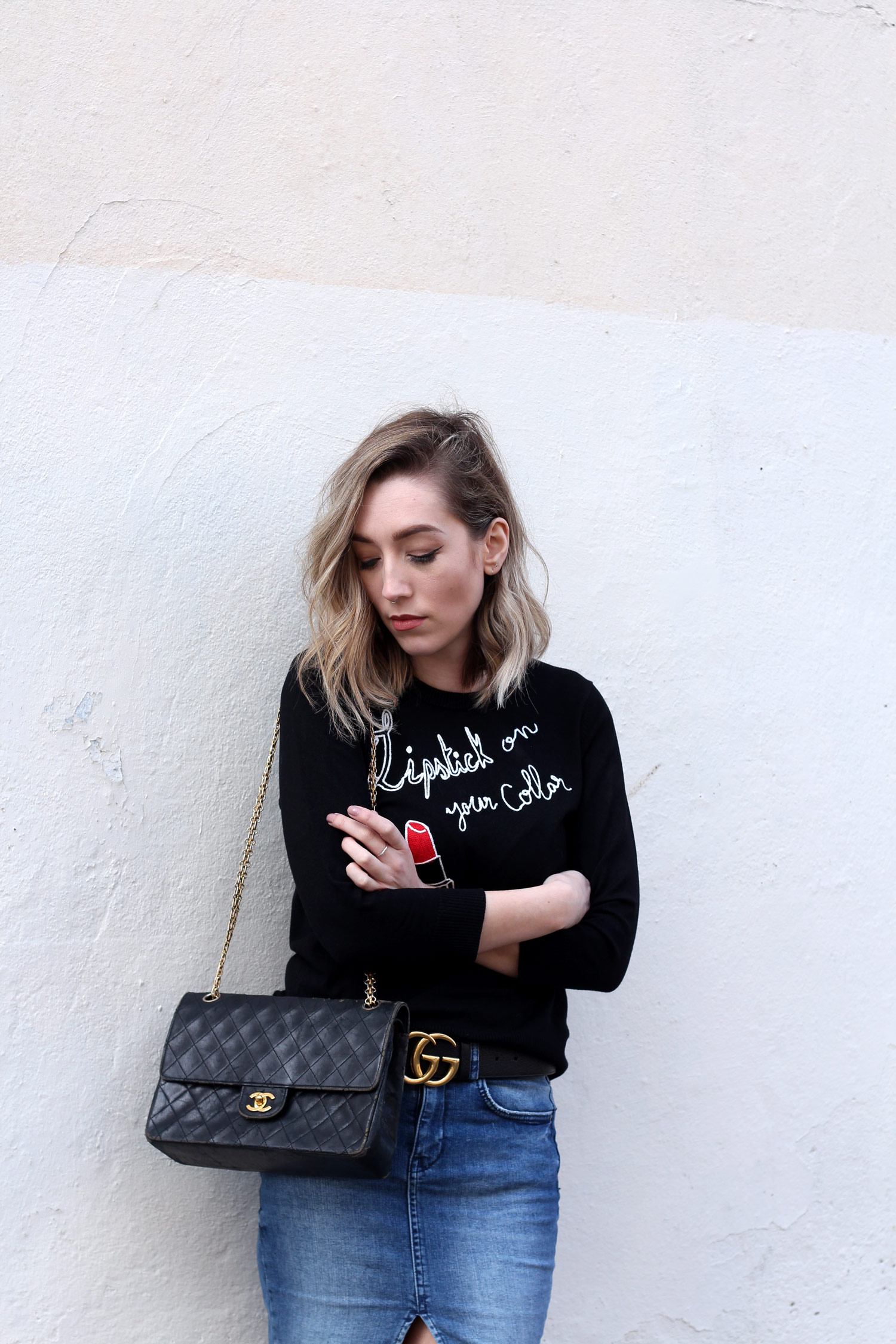 joanie-clothing-slogan-jumper-denim-skirt-vintage-chanel-2