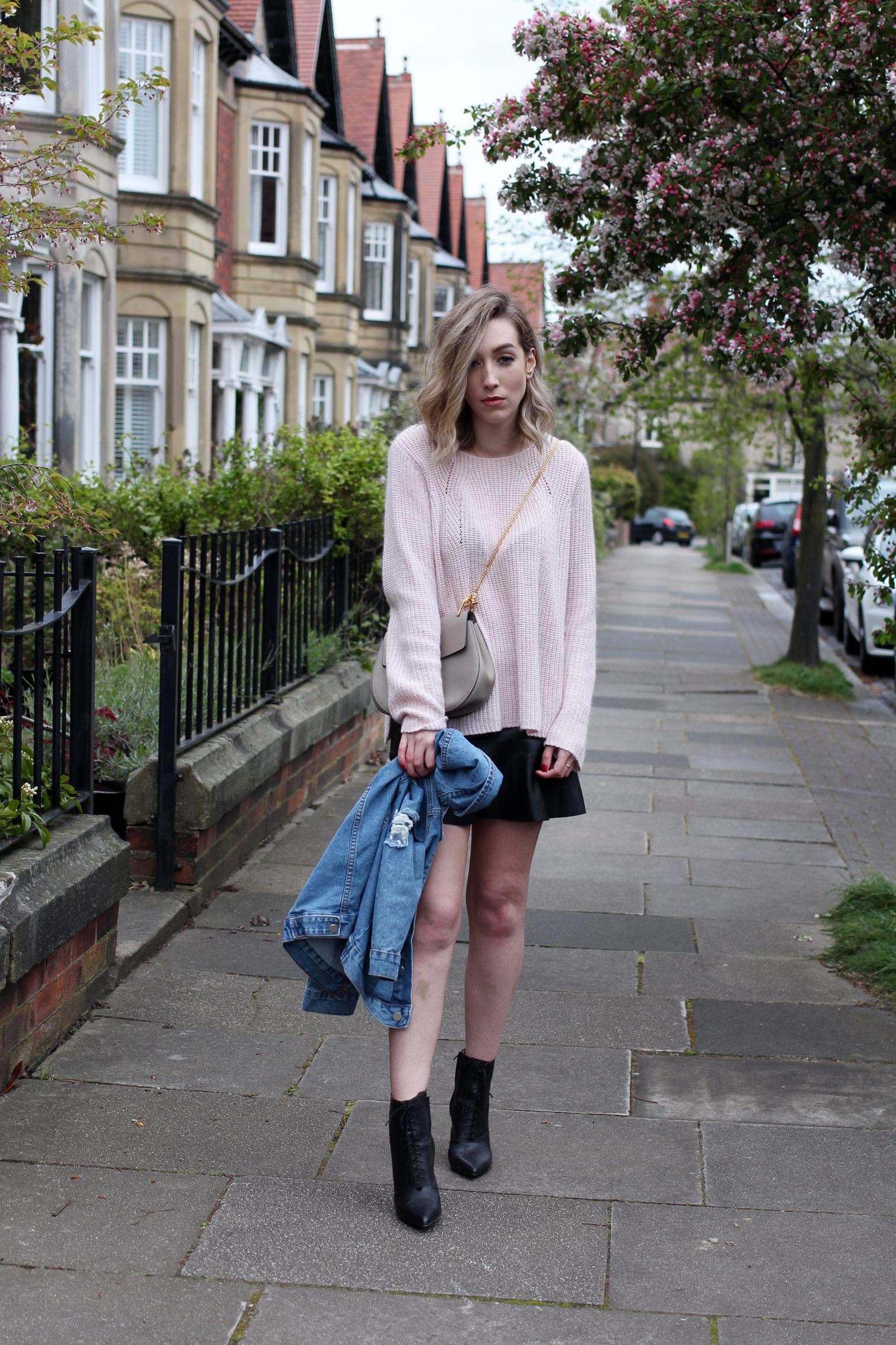 spring-denim-jacket-pink-jumper-leather-skirt-11