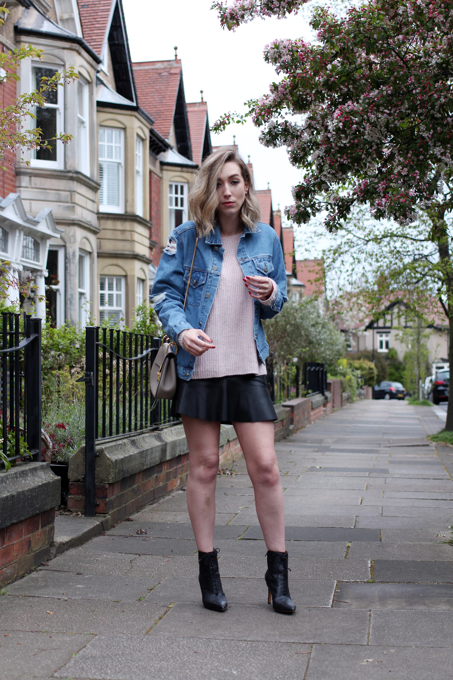 spring-denim-jacket-pink-jumper-leather-skirt-5