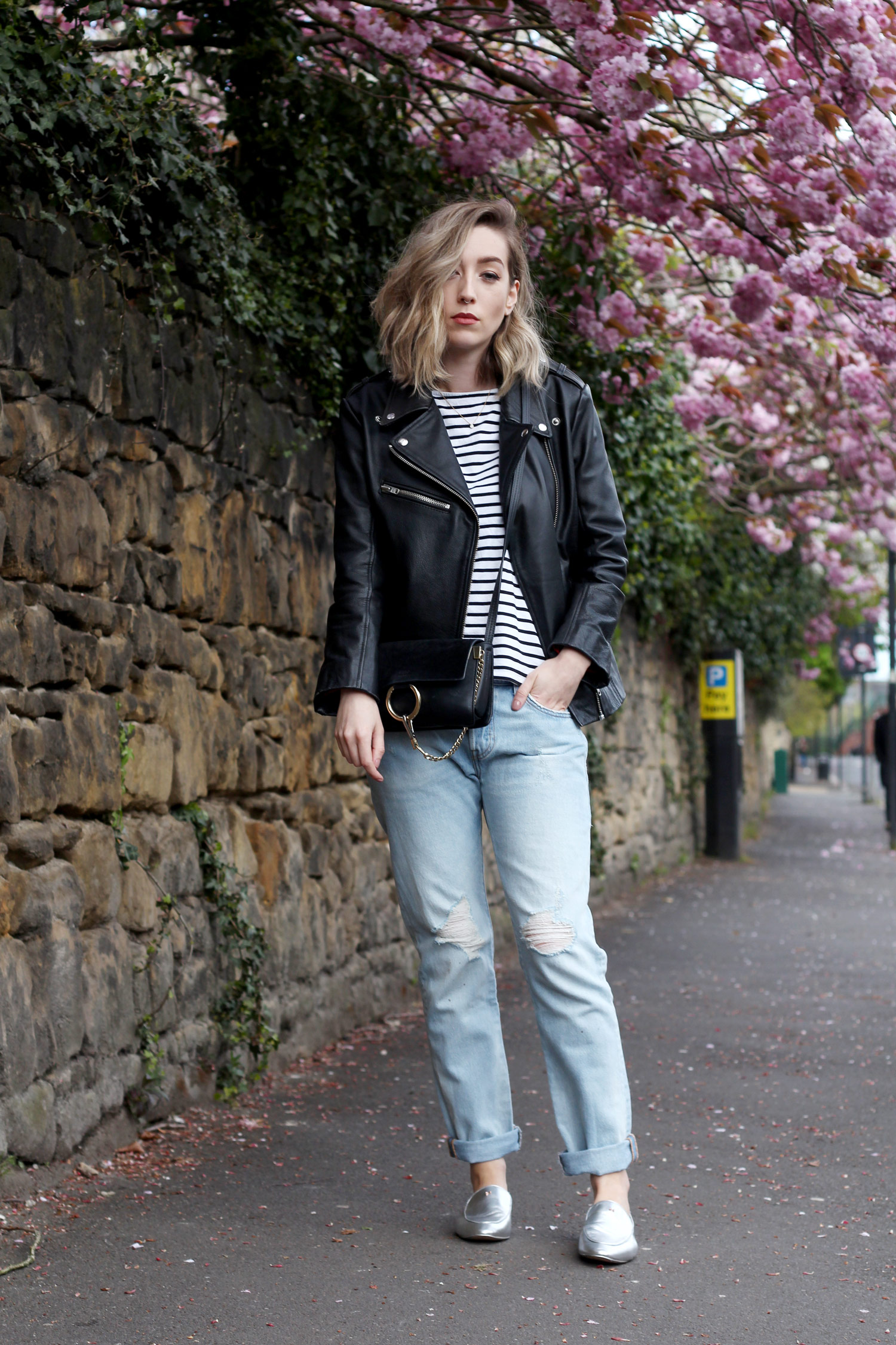 ted-baker-silver-loafers-leather-jacket-boyfriend-levi-stripe-top-