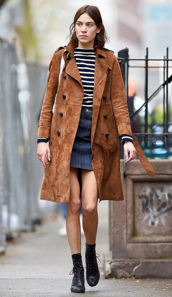 Alexa Chung seen wearing a brown coat and jean skirt in New York City <P> Pictured: Alexa Chung  <B>Ref: SPL1255742  010416  </B><BR /> Picture by: Robert O'neil/Splash News<BR /> </P><P> <B>Splash News and Pictures</B><BR /> Los Angeles:	310-821-2666<BR /> New York:	212-619-2666<BR /> London:	870-934-2666<BR /> photodesk@splashnews.com<BR /> </P>