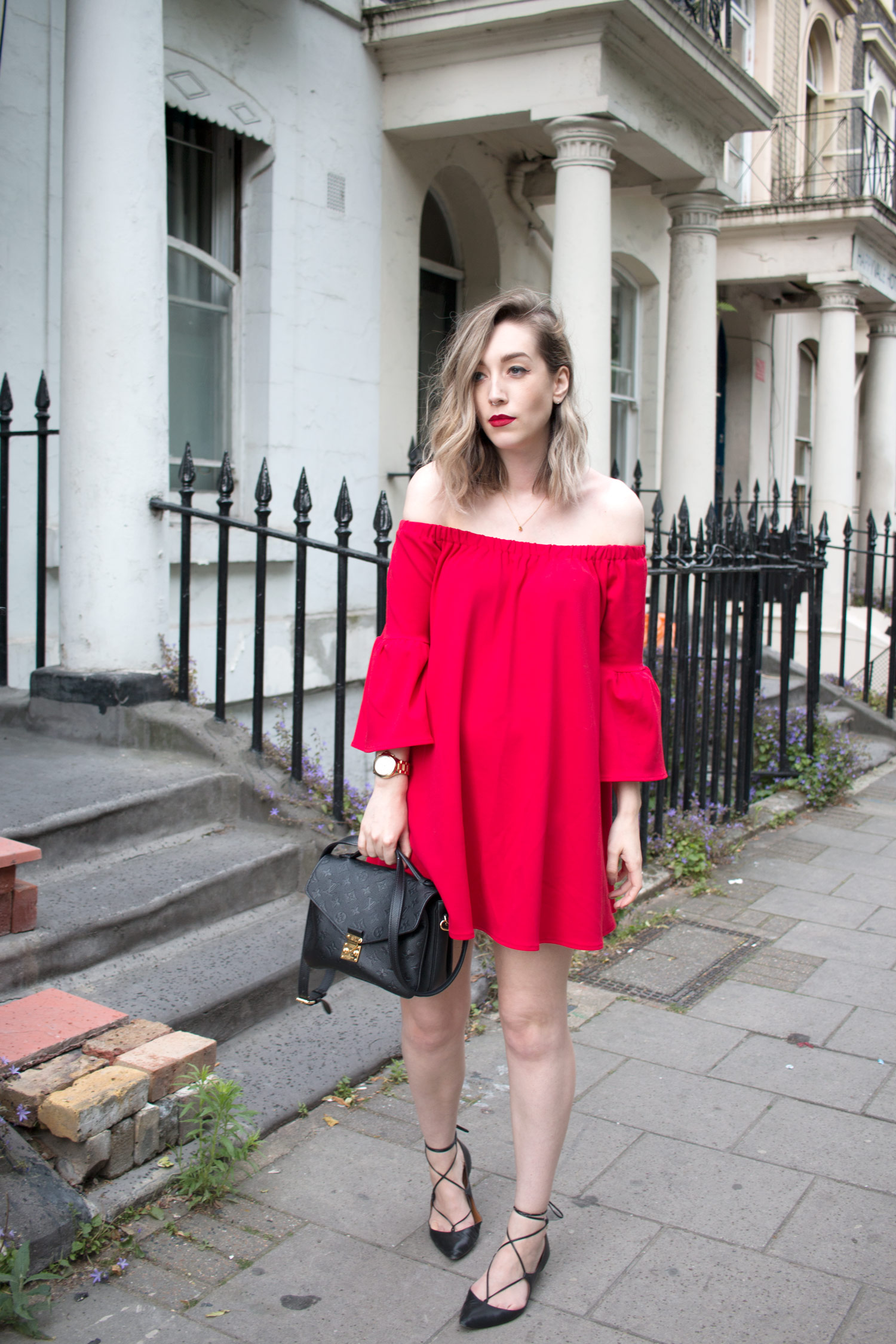 asos-red-off-shoulder-dress-louis-vuitton-pochette-metis-1