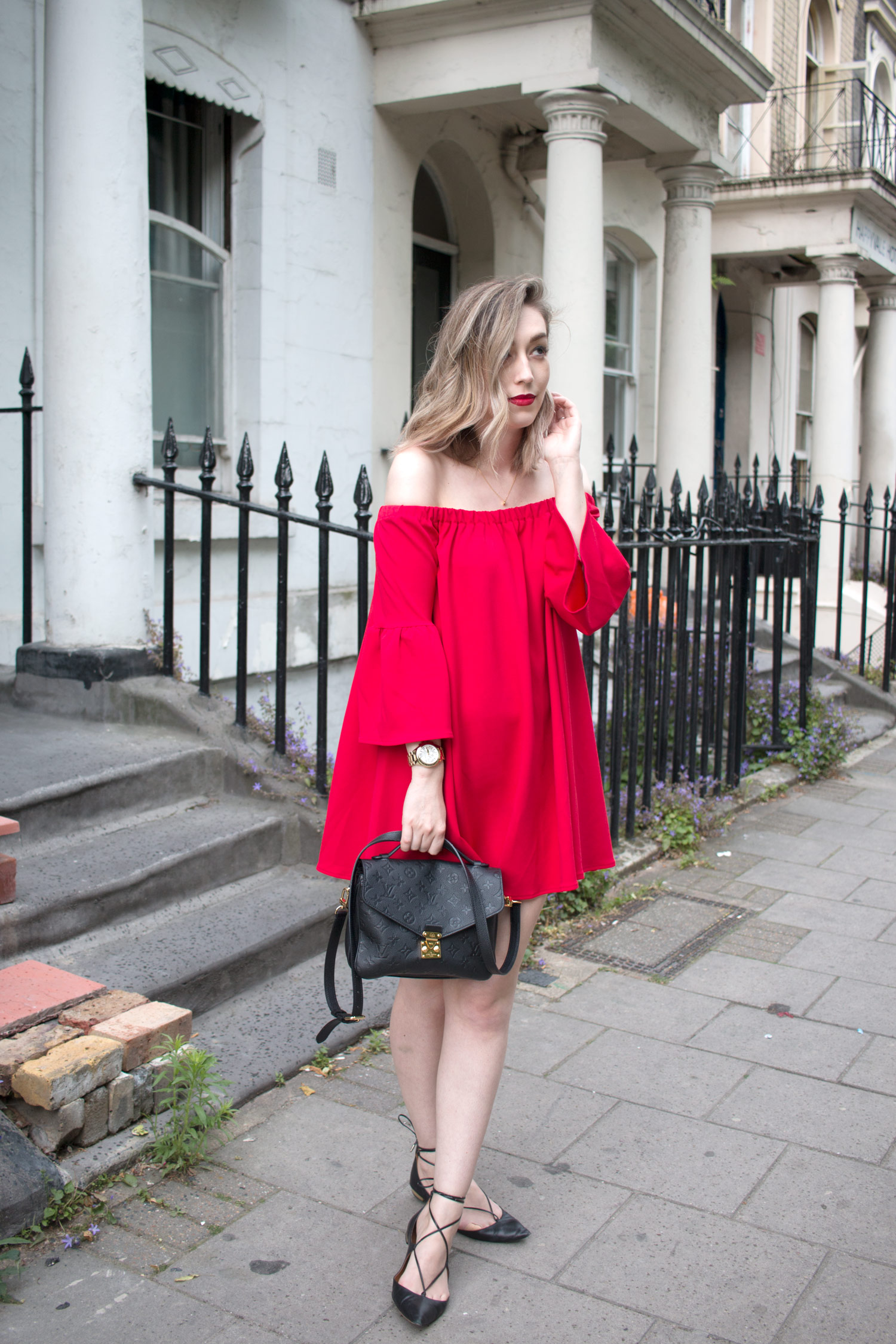 asos-red-off-shoulder-dress-louis-vuitton-pochette-metis-2
