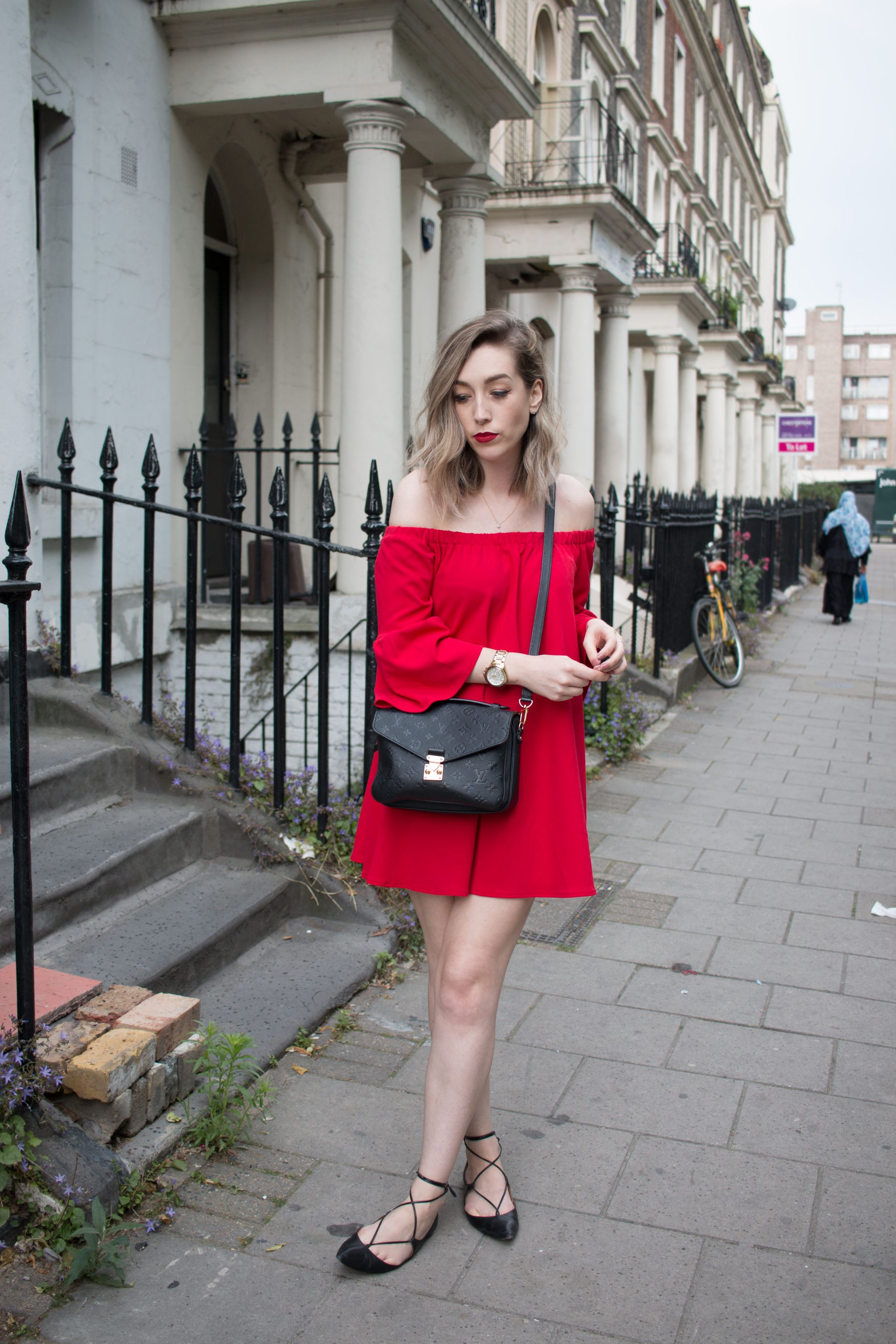asos-red-off-shoulder-dress-louis-vuitton-pochette-petis