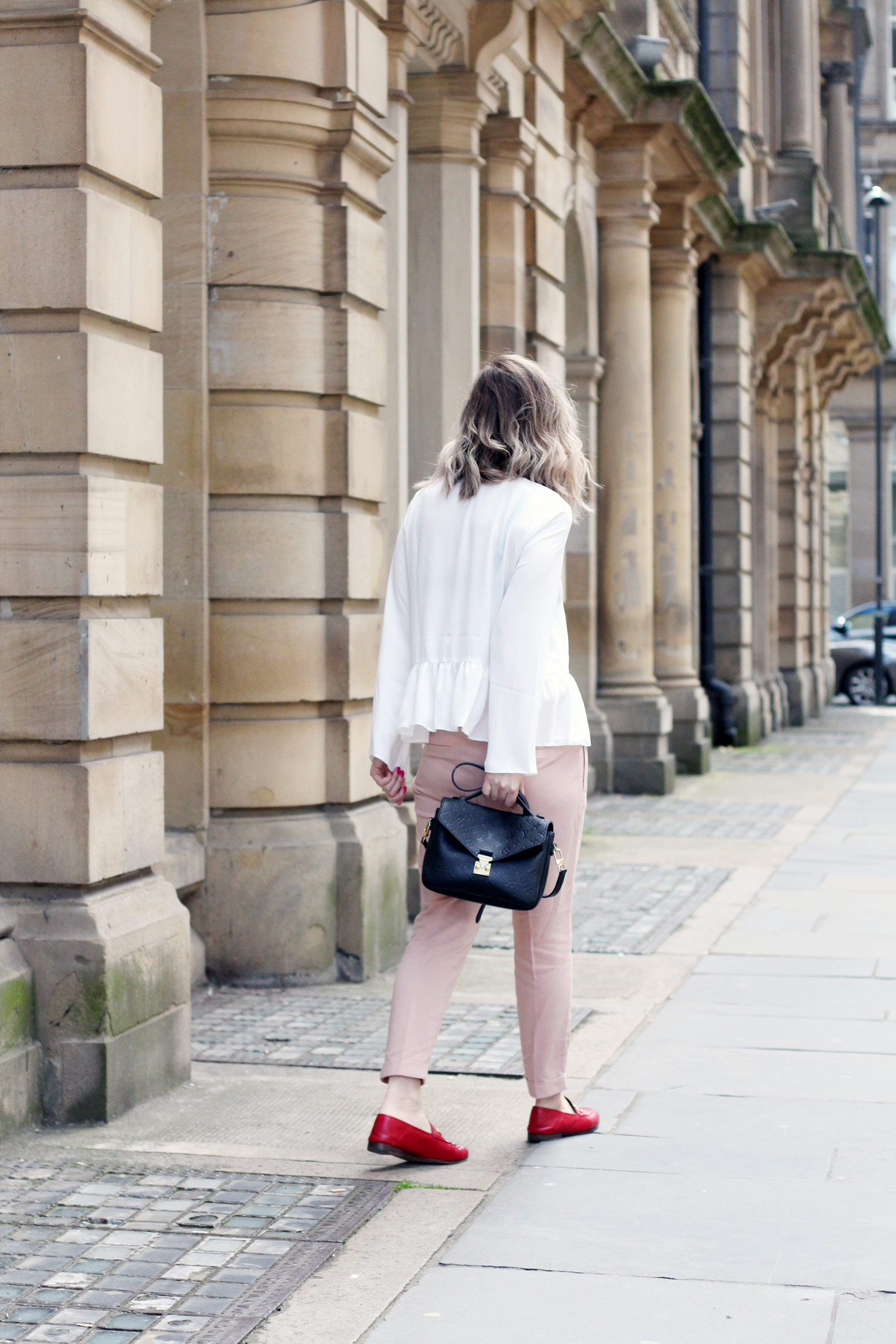 asos-white-ruffle-hem-blouse-M&S-pink-tie-trousers-gucci-jordaan-loafers-red-1