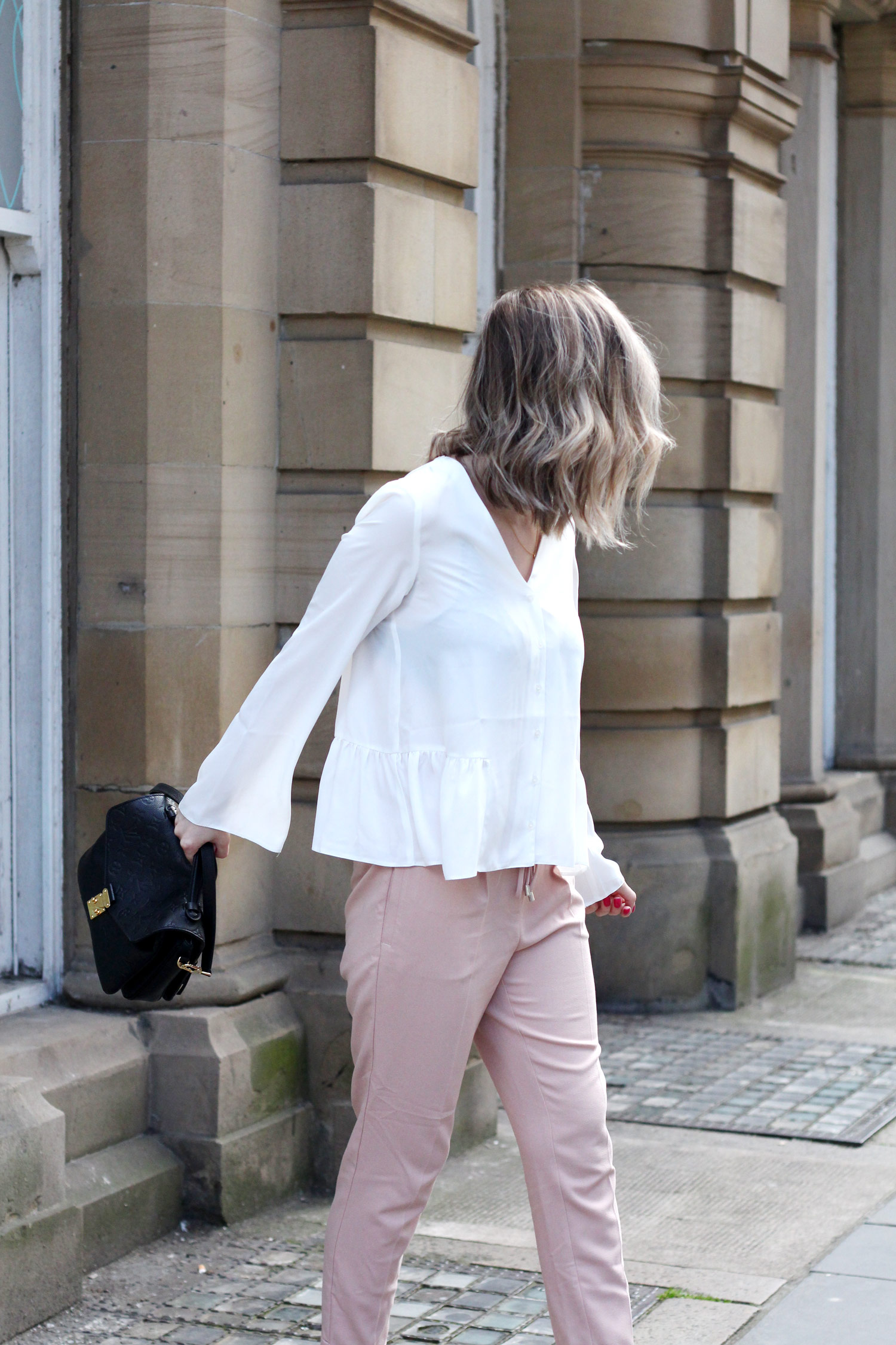 asos-white-ruffle-hem-blouse-M&S-pink-tie-trousers-gucci-jordaan-loafers-red-11