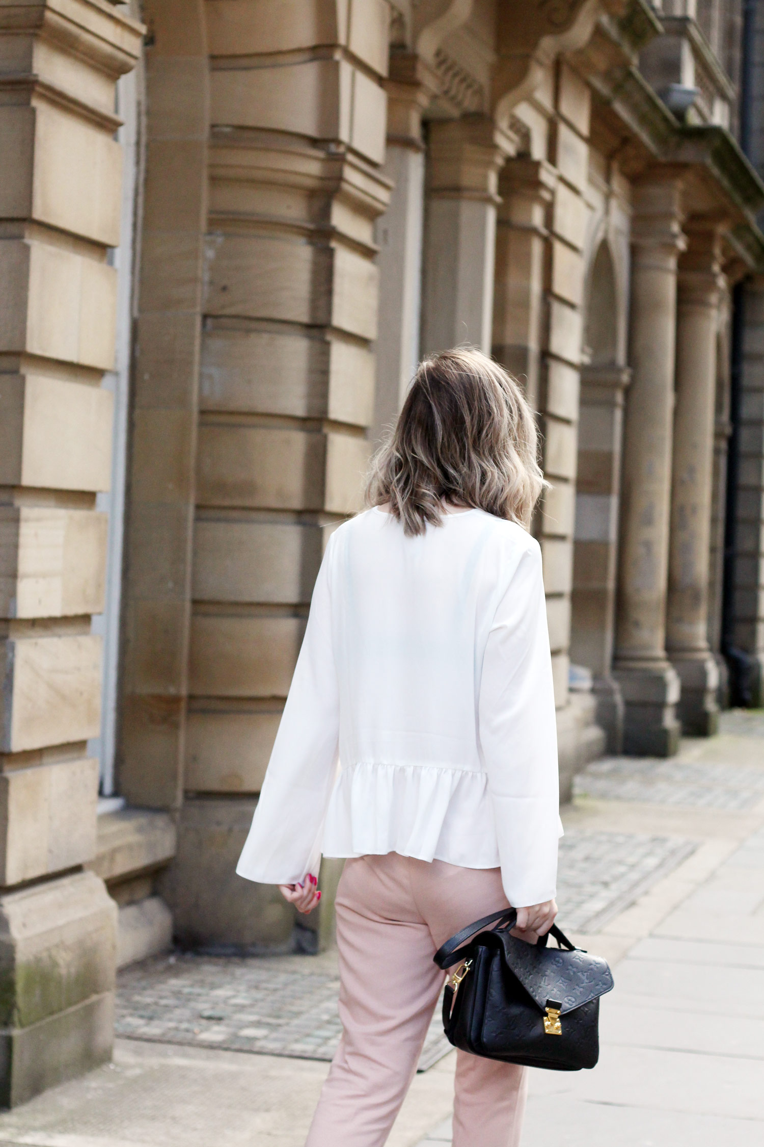 asos-white-ruffle-hem-blouse-M&S-pink-tie-trousers-gucci-jordaan-loafers-red-13
