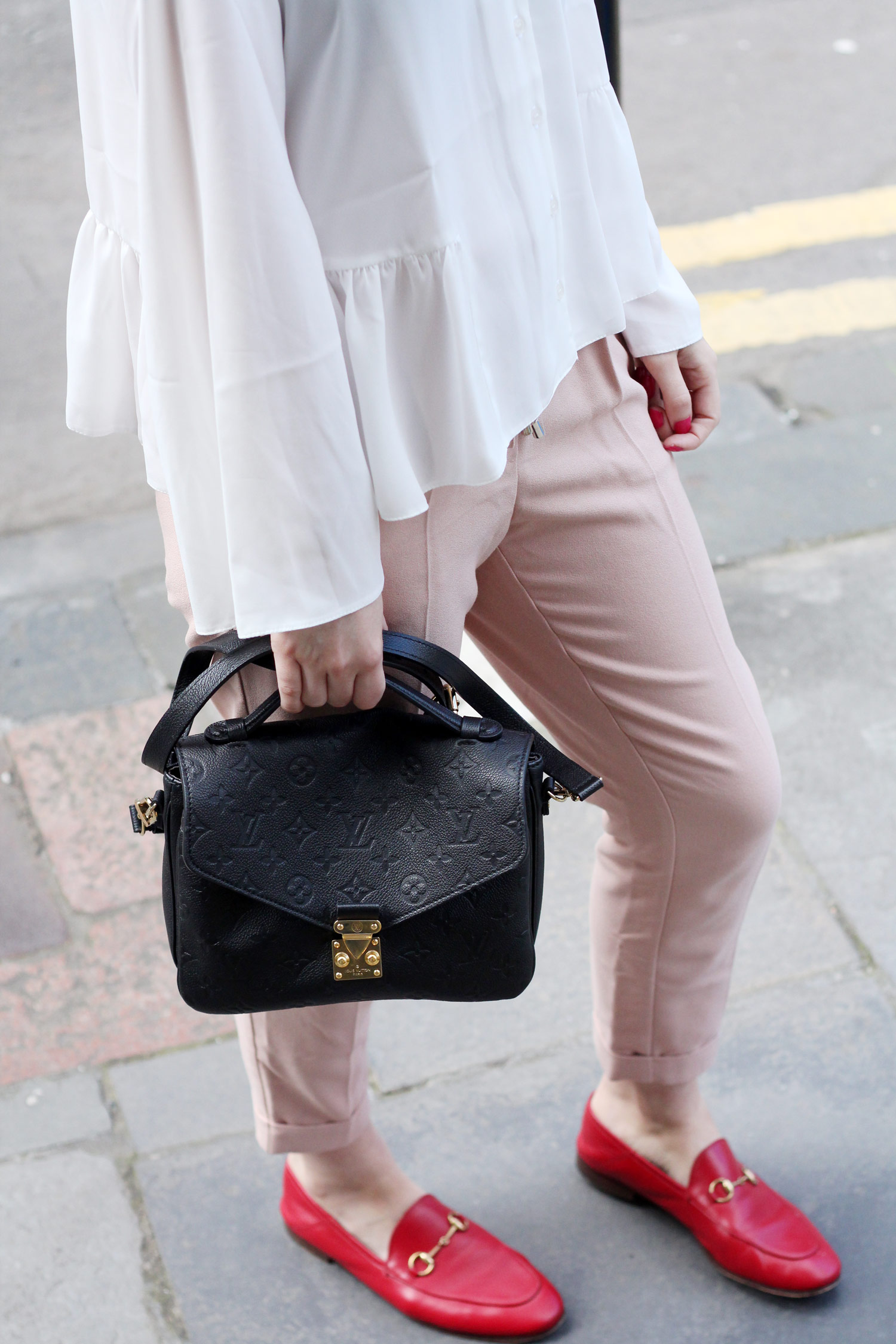 asos-white-ruffle-hem-blouse-M&S-pink-tie-trousers-gucci-jordaan-loafers-red-16