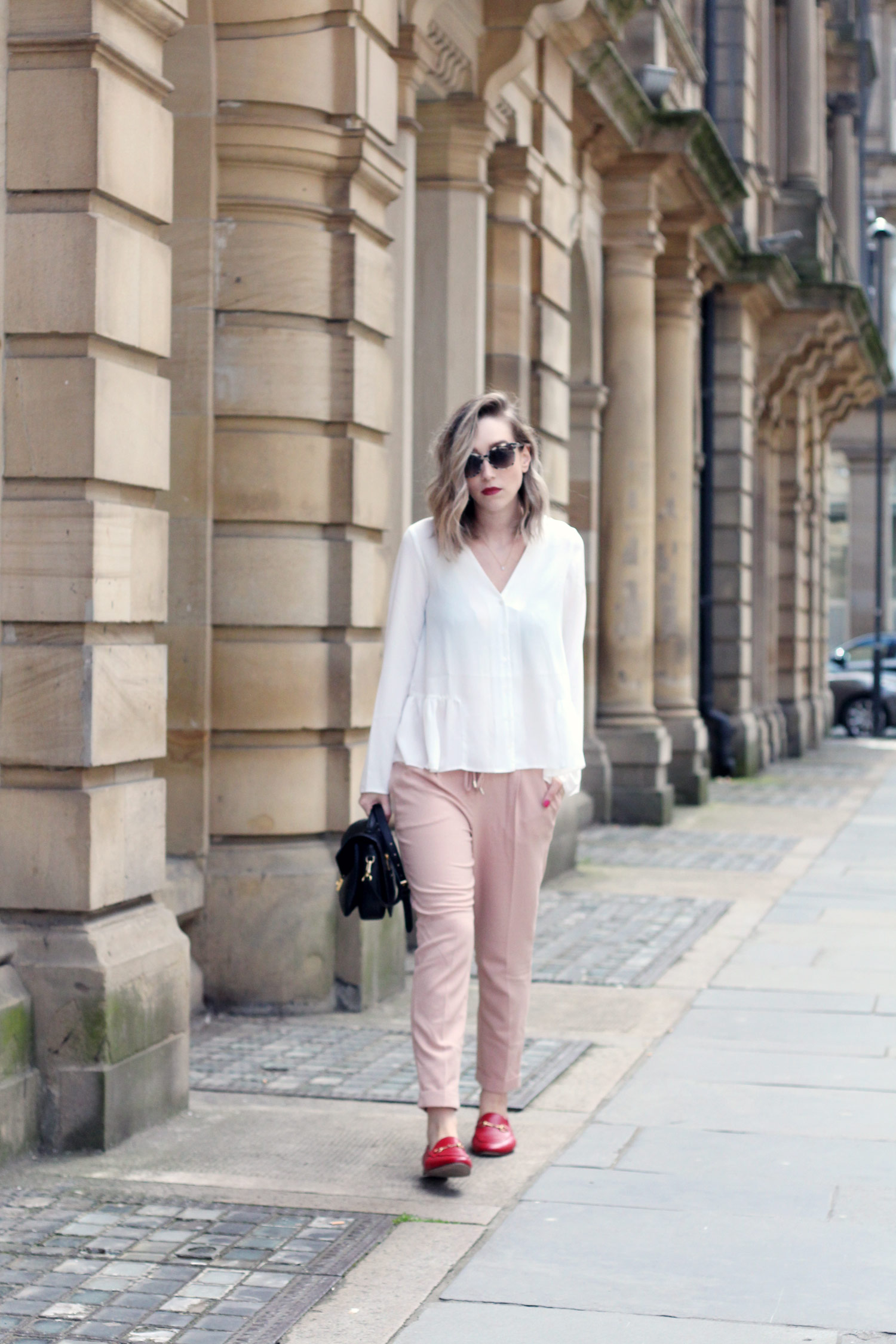 asos-white-ruffle-hem-blouse-M&S-pink-tie-trousers-gucci-jordaan-loafers-red-2