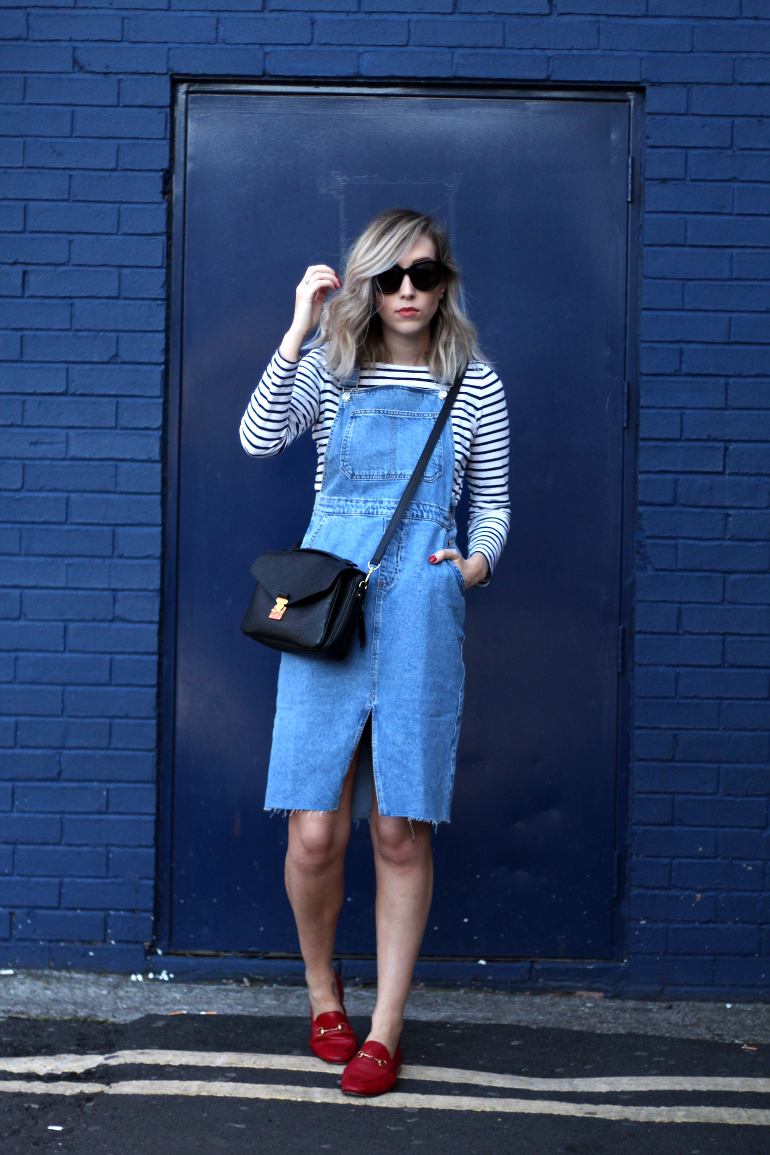 topshop-denim-pencil-dungaree-dress-stripe-top-red-gucci-loafers-1