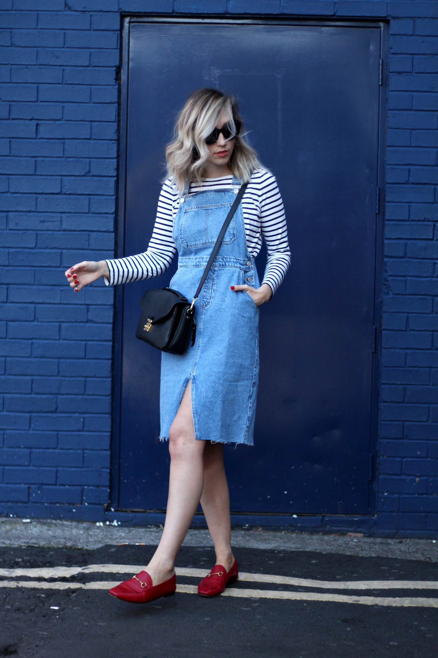 topshop-denim-pencil-dungaree-dress-stripe-top-red-gucci-loafers