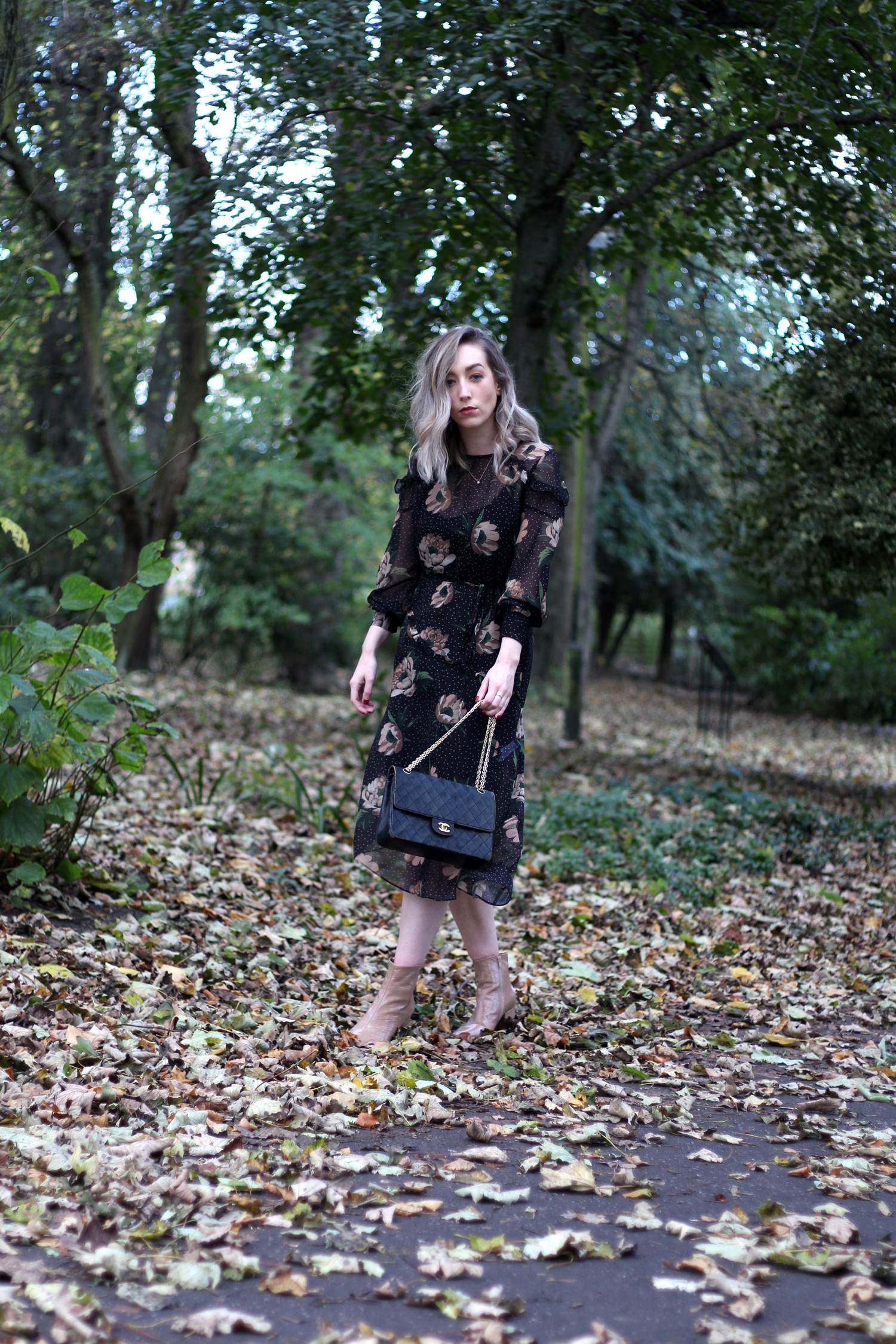 next-floral-midi-dress-nude-leather-boots-vintage-chanel-autumn-outfit-2