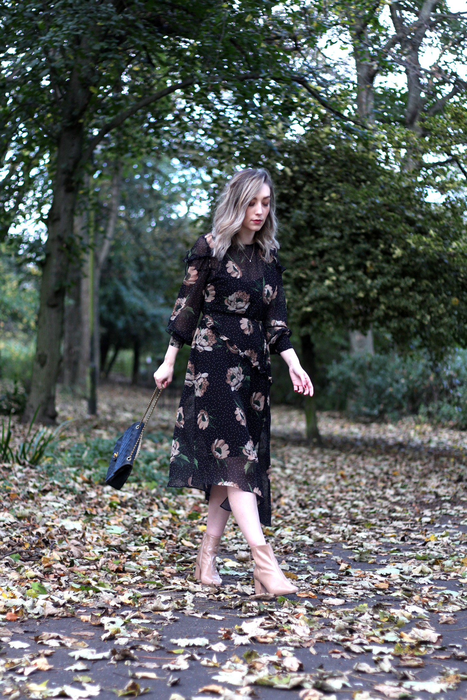 next-floral-midi-dress-nude-leather-boots-vintage-chanel-autumn-outfit-5