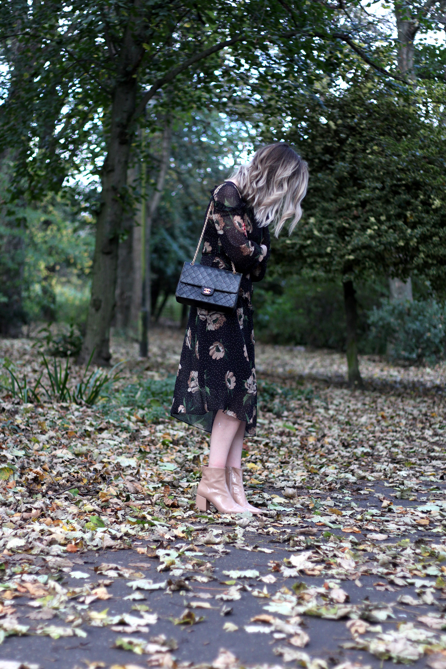 next-floral-midi-dress-nude-leather-boots-vintage-chanel-autumn-outfit-6