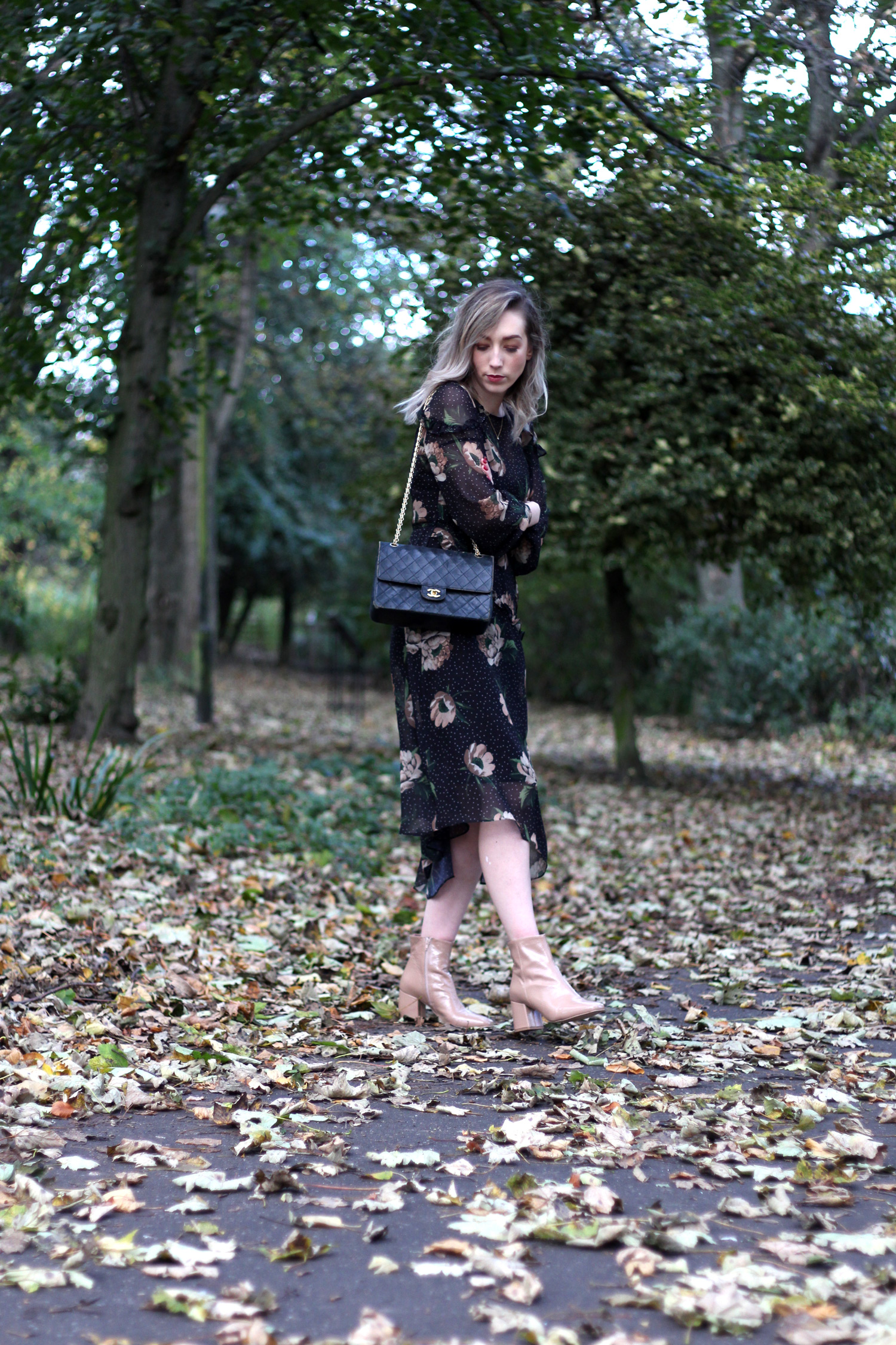 next-floral-midi-dress-nude-leather-boots-vintage-chanel-autumn-outfit-8