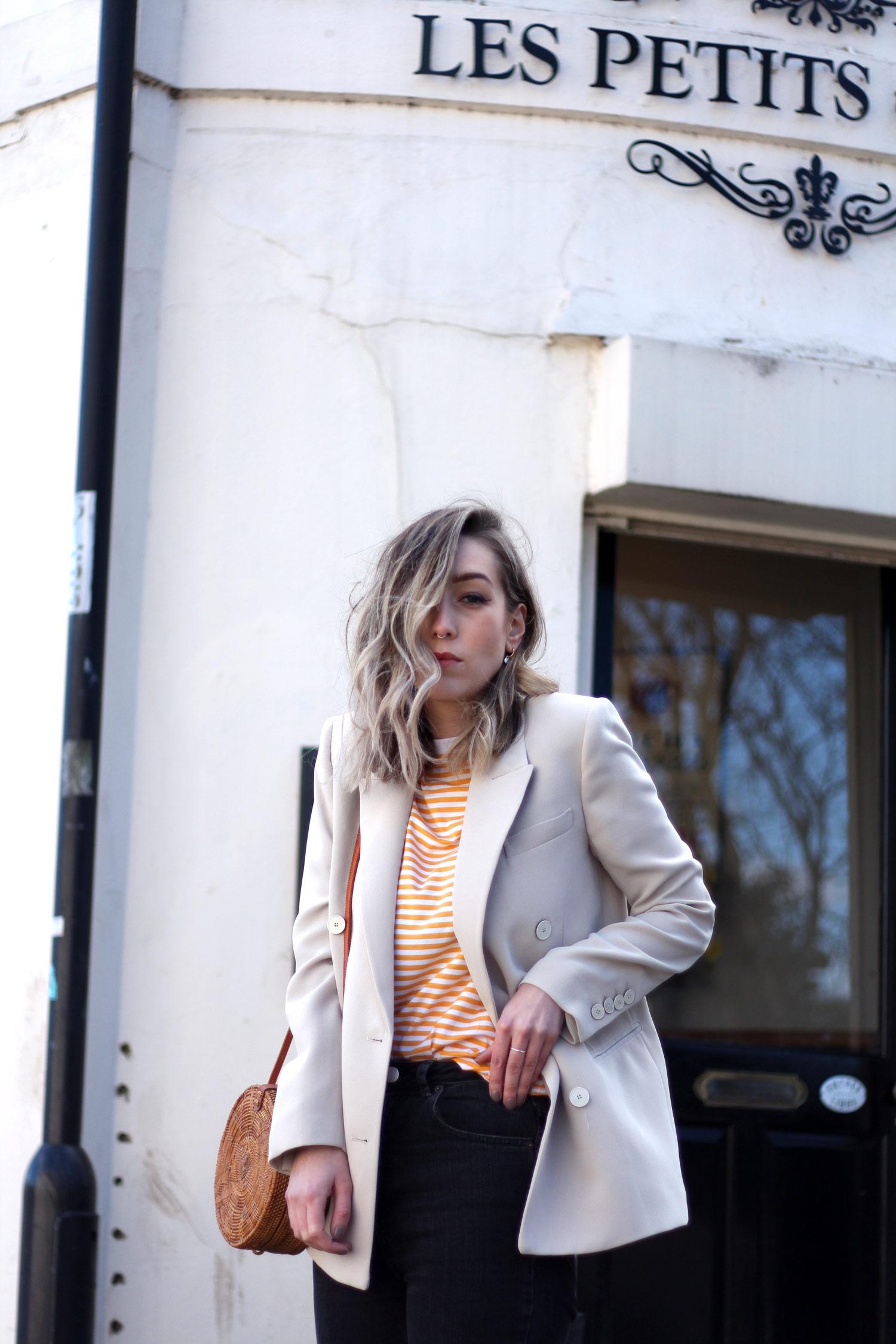 mango-beige-blazer-yellow-stripe-tshirt-gucci-loafers-basket-bag-15