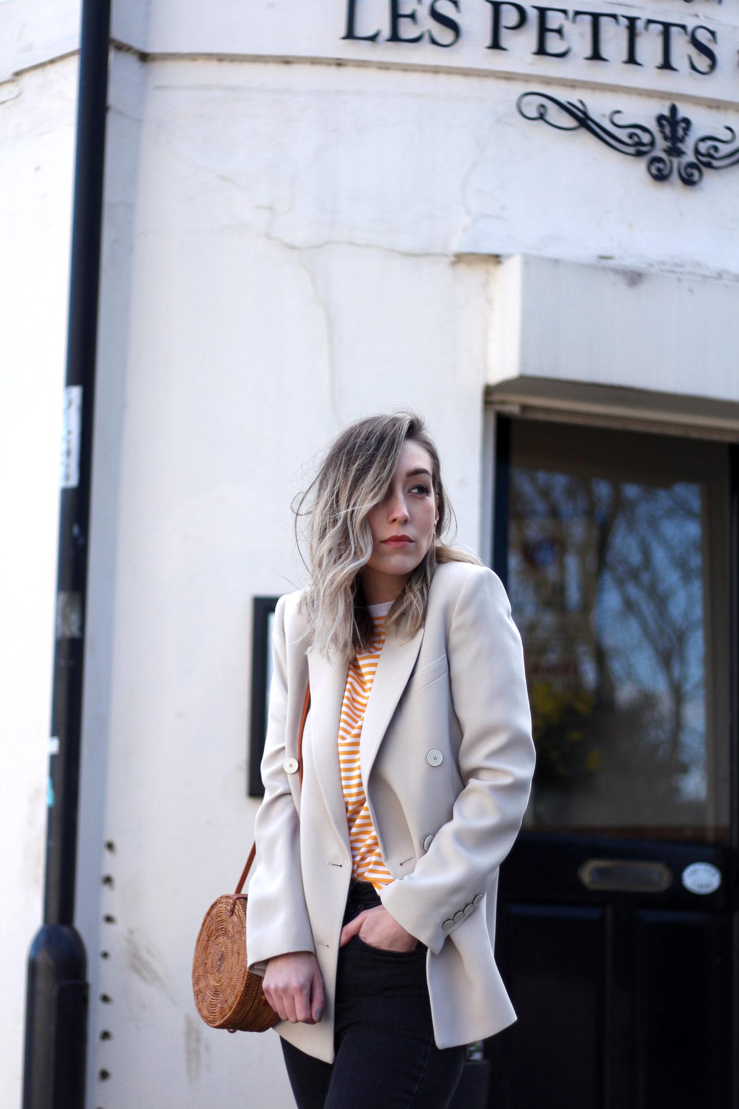 mango-beige-blazer-yellow-stripe-tshirt-gucci-loafers-basket-bag-17